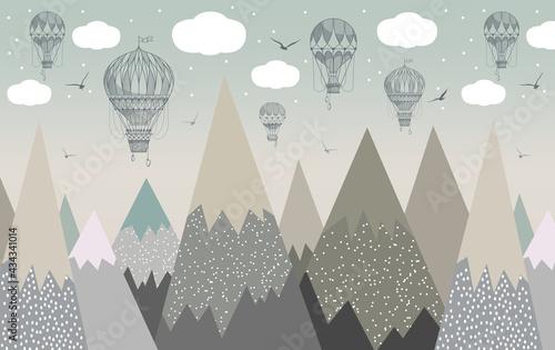 Canvastavla hot air balloons mountains