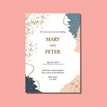 Elegant Floral Wedding Invitation With Textures