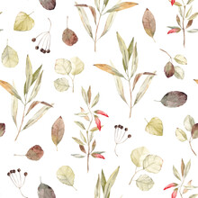 Watercolor Seamless Pattern With Abstract Plants And Flowers On A White Background. Cute Vintage Pattern.