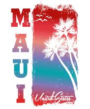 Maui Summer Beach,t-shirt Print Poster Vector Illustration