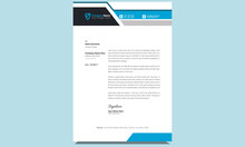 Unique Clean Fresh Professional Company Corporate Creative Modern Business Letterhead Design Template With Blue And Black Shapes.