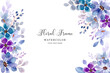 Soft purple floral frame background with watercolor