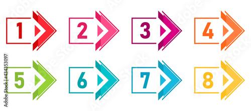 Foto Flat arrow direction bullet points number vector