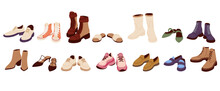Female Modern Boots And Shoes Collection. Trendy Sandals And Loafers Set. Different Fashionable Sneakers And Training Shoes In Cartoon Style.
