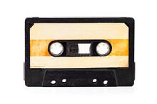 Vintage Audio Cassette Tape. Retro Audio Sound Music Equipment. Common Compact Audio Cassette, Asset Data. Selective Focus.