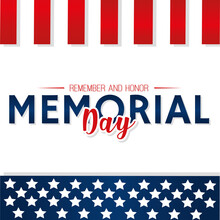 Memorial Day Poster With Text And Stars