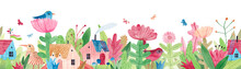 Watercolor Illustration With Cute Village Houses, Wildflowers, Herbs And Butterflies. Repeating Horizontal Panorama. Seamless Border.