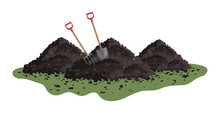 Vector Pile Of Soil. Hayfork And Shovel In A Pile Of Ground. Heap Of Substrate, Humus, Fertilizer, Compost