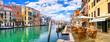 canvas print picture - Romantic venetian canals. beautiul town Venice, Italy