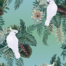 Tropical Vintage Palm Leaves, Banana Leaves, Cockatoo Parrot, Seamless Pattern Black Background. Exotic Jungle Wallpaper.
