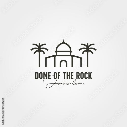 Canvas dome of the rock minimal logo vector symbol illustration design