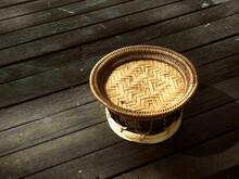 Small Khantoke Weave Bamboo Basketry Of Thai Traditional