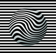 Striped Balls 3D. Black And White Abstract Background. Vector Spiral Diagonal Swirls Sphere With Optical Illusion Effect. Modern Minimalist Graphic Design In An Interesting Composition.. For Textile F