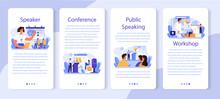 Professional Speaker Mobile Application Banner Set. Rhetoric Or Elocution