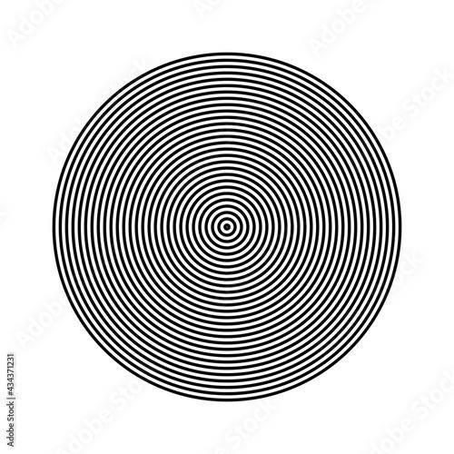 Fototapeta premium Simple concentric, radiating circle on white background