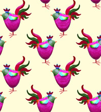 Cute, Colorful, Rooster. Birds. Cartoon Style. Seamless Pattern.