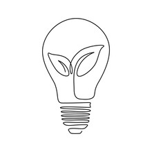Plant Inside Lightbulb In One Line Drawing. Creative Concept Of Eco Energy And Environmental Friendly Sources. Vector Icon Illustration For Logo, Emblem, Flyer, Presentation, Post In Social Media
