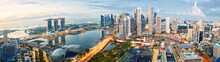 Singapore Skyline Panorama At Sunrise, Financial District And Marina Bay
