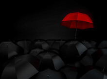 Distinction Or Leadership, Being Different  Concept Background. Red Umbrella Stand Out From Mass Of Black Umbrellas. 3D Render