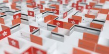 Fictional Credit Card Maze With Flag Of Hong Kong. Financial Difficulties Related 3D Rendering