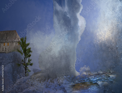 Fotografiet paysage imaginaire geyser