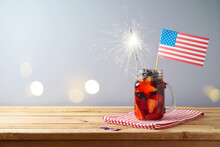 Happy Independence Day, 4th Of July Celebration Concept With Summer Fruit Drink And USA Flag On Wooden Table