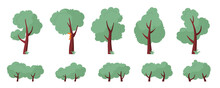 Set Of Abstract Trees And Bushes Of Various Shapes. Cartoon Tree Shape Illustration In Flat Style. Vector Illustration