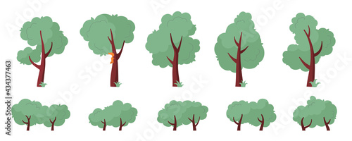 Foto Set of abstract trees and bushes of various shapes