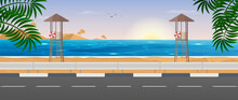 Sea View. Rescue Tower On The Beach. Tourist Trip. Scene Of The Road To The Sea. Vector Illustration.