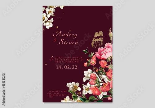 Editable Floral Wedding Invitation Card Template - fototapety na wymiar
