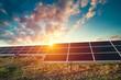 Leinwandbild Motiv Solar Panels Against The Deep Blue Sky