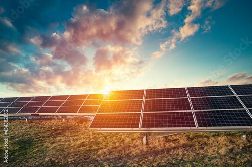 Fotografia, Obraz Solar Panels Against The Deep Blue Sky