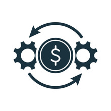 Cost Effective Icon. Cogwheels, Gears And Dollar Symbol. Efficiency And Optimization Icon. Operation And Production Of Making Money Concept. Vector Illustration
