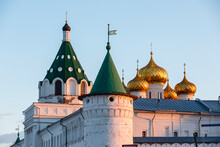 Beautiful View Of The Domes Of  Ipatievsky Monastery At Sunset.  Kostroma, Russian Federation
