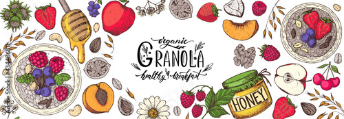 Fotografiet Granola ingredients illustration