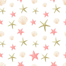 Vector Seamless Summer Pattern. Cartoon Starfish And Underwater Shells. Wallpaper On The Theme Of A Summer Beach Holiday.