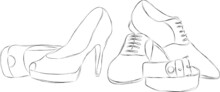 Hand Drawn Pencil Illustration Of Women's And Men's Wedding Shoes