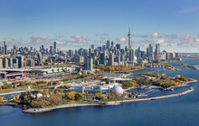 Aerial View Of Toronto Skyline From The South West With Ontario Place In The Foreground.