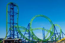 Blue Green Rollercoaster Tracks Fair Ride