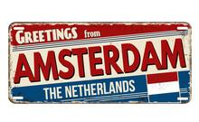 Greetings From Amsterdam Vintage Rusty Metal Plate