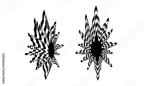Fotografering space stars in the style of op art black fantastic patterns on a white backgroun