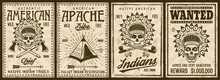 American Native Indians Set Of Four Vintage Poster Templates Vector Illustration With Grunge Textures