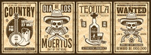 Mexico And Wild West Thematic Set Of Four Vector Vintage Posters With Grunge Textures