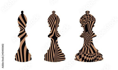 Obraz na plátne wooden chess bishop with texture in op art style creative icons for popular boar