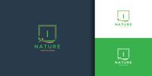 Letter I Square Leaf Logo. Nature Tree Leaf Logo