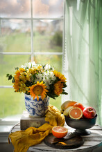 Sunflower Bouquet And Fruits By The Window - Still Life