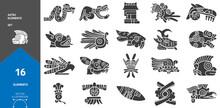 Ancient Mexican Mythology Symbols. American Aztec, Mayan Culture. Stock Vector