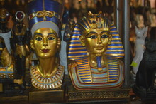 Close-up Of  Egyptian  Statues In Temple Outside Building