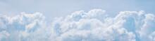 Light Blue Cumulus Clouds Texture, Wide Summer Sky Background