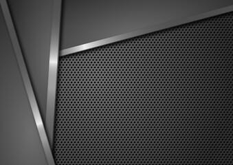 Luksusowe ciemne tło z szarymi kształtami, srebrnymi paskami i metalową siatką do projektowania grafiki, tekstu i prezentacji. Tło dla produktów technologicznych, biznesowych lub elektronicznych.